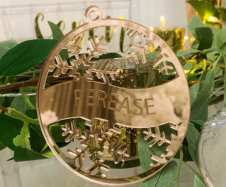 Custom Name - Acrylic or Wood Etched Circle with snowflakes