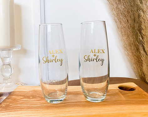 Custom Etched Stemless Flutes (Pack of 2)