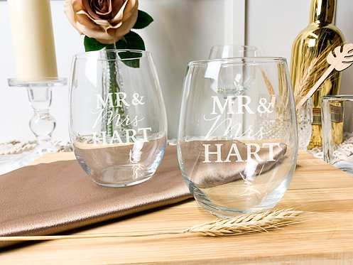Custom Etched Stemless Wine Glasses (Pack of 2)