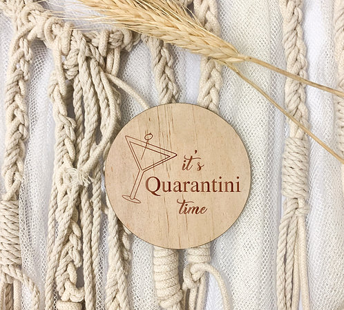 Engraved Coasters - Quarantini Time (Pack of 4)