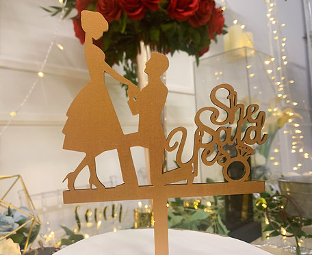 She Said Yes | Silhouette Cake Topper