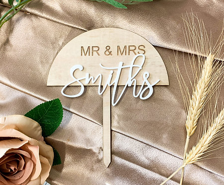 Double Layer Wood Newlywed Cake topper