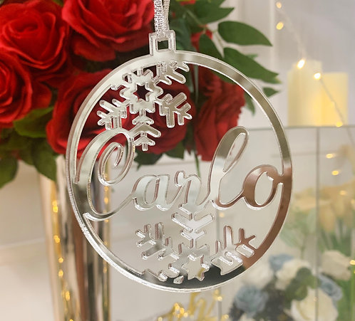 Custom Name - Acrylic or Wood Circle with snowflakes