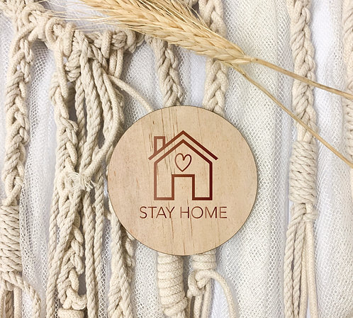 Engraved Coasters - Stay Home (Pack of 4)