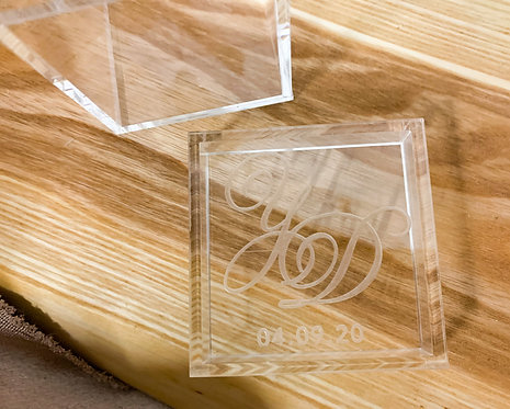 Custom Etched Lucite Acrylic Ring Box
