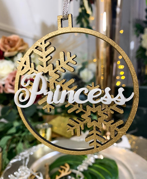 Custom Name - Circle with snowflakes & cutout name | Wood & Acrylic