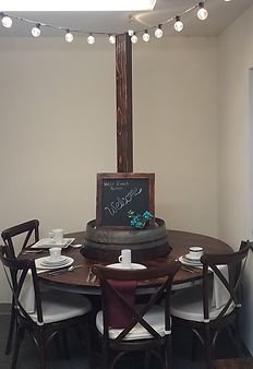 60in Wine Barrel Table with Light Post a