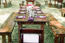 Beefy Mahogany Farm Table with Benches_e