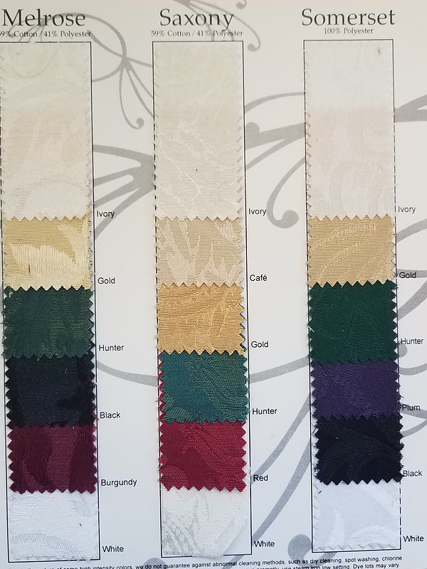 Damask Table Linen Swatches