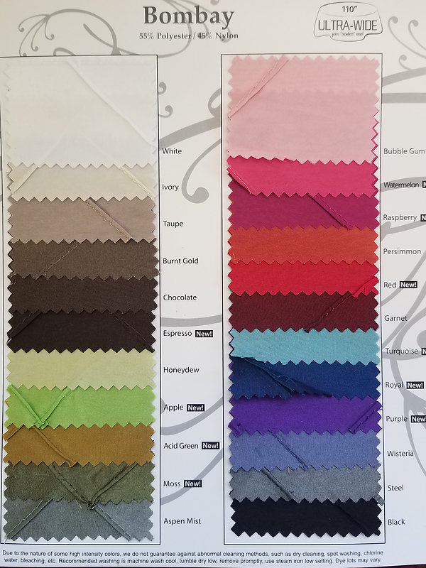 Bombay Table Linen Swatches