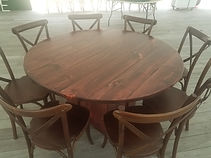 6in round farm table with cross back cha