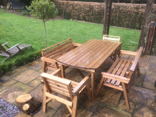 Wooden Garden Furniture 6  Table 2 Bench   2 Chairs   Shop   Fenton Garden  Furniture   Stoke On Trent. Wooden Garden Furniture 6  Table 2 Bench   2 Chairs   Shop