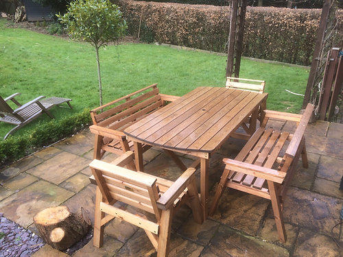wooden garden furniture 6 table 2 bench 2 chairs while stocks - Garden Furniture 6