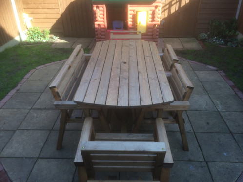 THIS ITEM COMES FULLY ASSEMBLED WHICH ARE HANDMADE IN STOKE ON TRENT   STAFFORDSHIRE  Tel   07507 477107For Possible Free Express Delivery. Wooden Garden Furniture 6  Table 1 Bench   4 Chairs   Shop