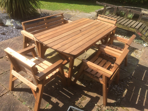 Bench Seating Area. Wooden Garden Furniture 6  Table 1 Bench   4 Chairs   Shop