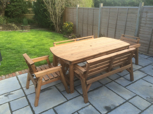 THIS ITEM COMES FULLY ASSEMBLED WHICH ARE HANDMADE IN STOKE ON TRENT   STAFFORDSHIRE  Tel   07507 477107 For Possible Free Express Delivery. Wooden Garden Furniture 6  Table 2 Bench   2 Chairs   Shop