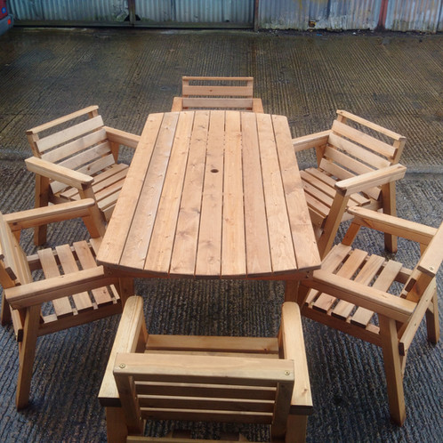 THIS ITEM COMES FULLY ASSEMBLED WHICH ARE HANDMADE IN STOKE ON TRENT   STAFFORDSHIRE  Tel   07507 477107 For Possible Free Express Delivery. Wooden Garden Furniture 6  Table 6 Chairs   Shop   Fenton Garden