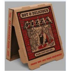 12x12x1.75 Corrugated Pizza Box Red Brick Print Kraft/Kraft B-Flute