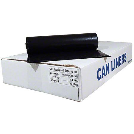38x58 Black 1.5mil EQ Can Liner 55 Gallon