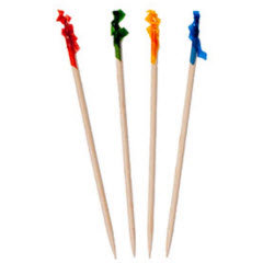 """4.5"""" Club Size Wood Frill Toothpicks Assorted Colors"""