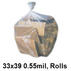 33x39 Clear .55mil Premium Can Liner 33 Gallon 250/case