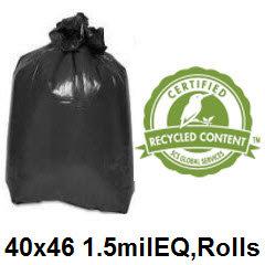 40x46 Black 1.5mil EQ Can Liner 40-45 Gallon 100/case