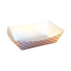 5 lb. Red Plaid Clay Lined Food Tray (#500) 500/case