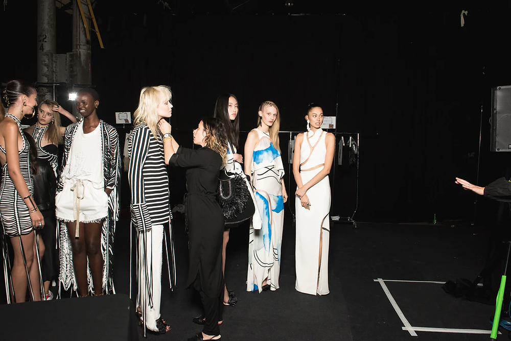 Models lined up backstage at Mercedes-Benz Fashion Week Australia