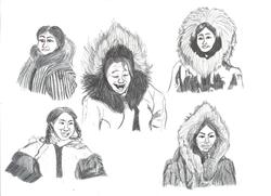 Eskimo women doodles 001