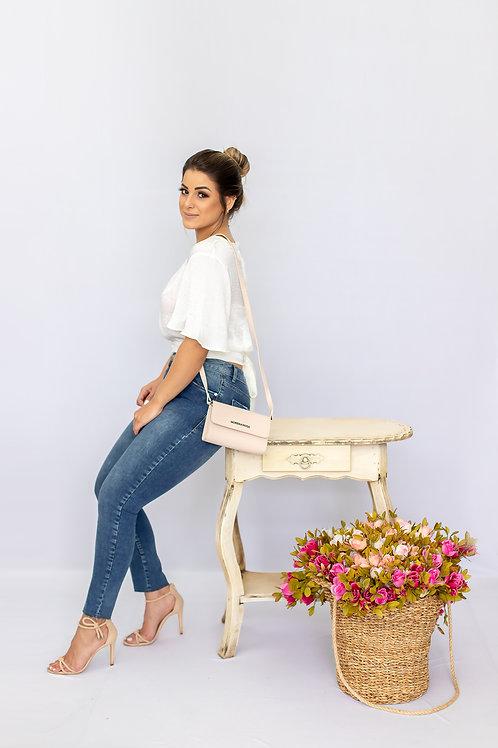Calca Slim Cropped Giane Cos Intermediario Com Termocolante Jeans - Morena Rosa