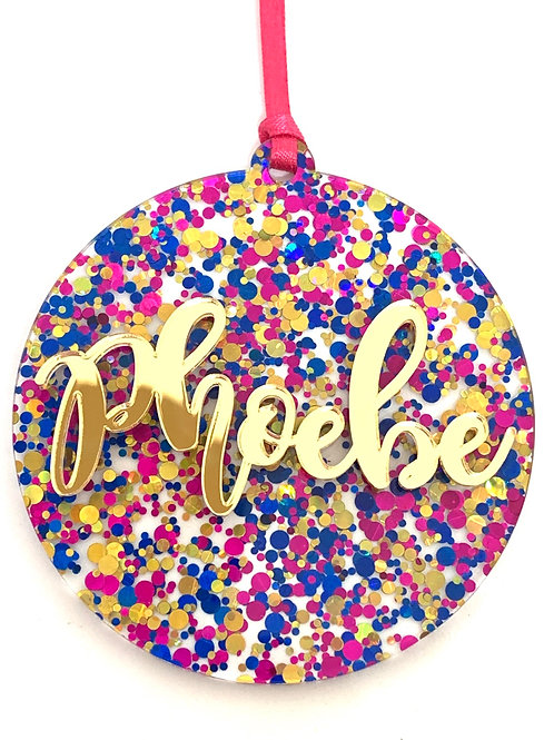 Party Confetti Personalised Christmas Ornament