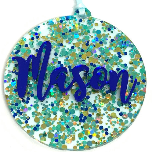 Aqua Confetti Personalised Christmas Ornament