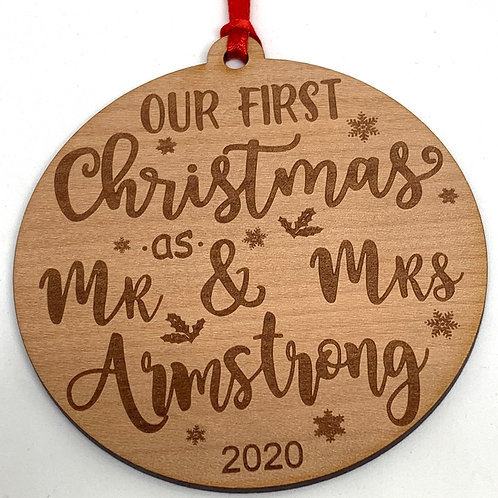 Mr and Mrs Personalised Christmas Ornament