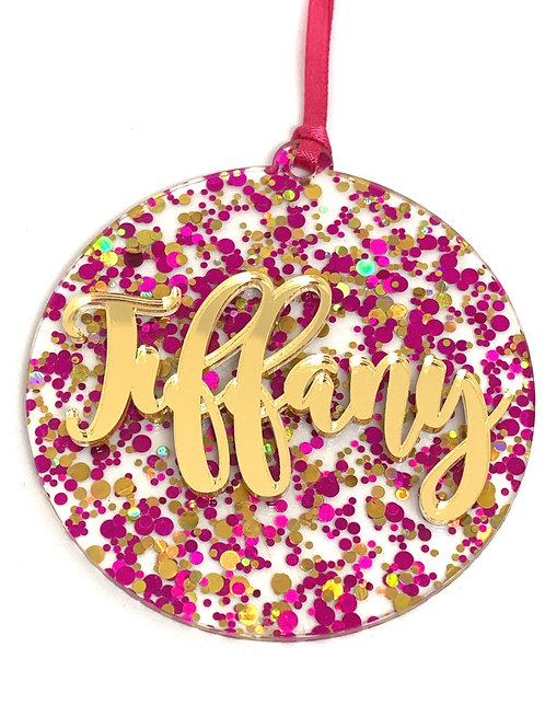 Pink Confetti Christmas Ornament