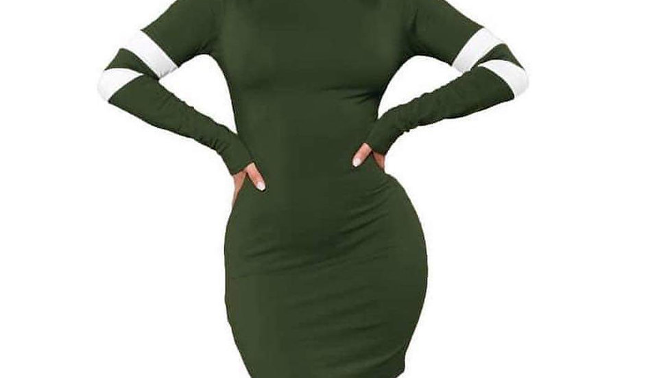 Green & White Stretch long Sleeve Dress