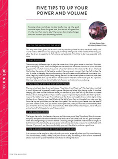 """""""Five Tips To Up Your Power and Volume"""" / Tom Tom Magazine / Issue 27"""