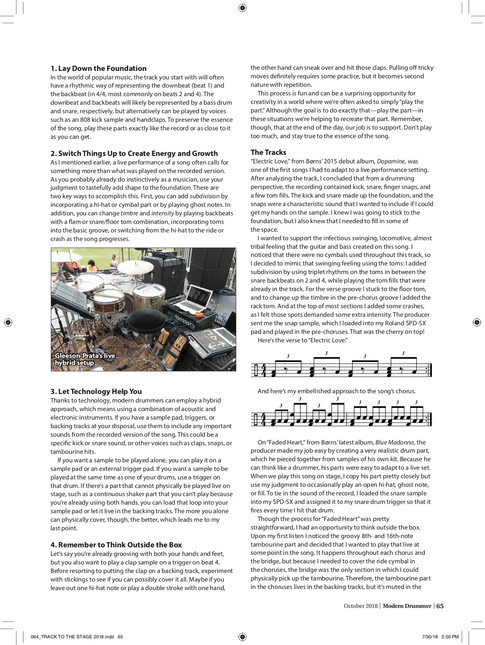 """""""From the Track to the Stage"""" / Modern Drummer Magazine / April 2017 Issue / Page 2 of 3"""