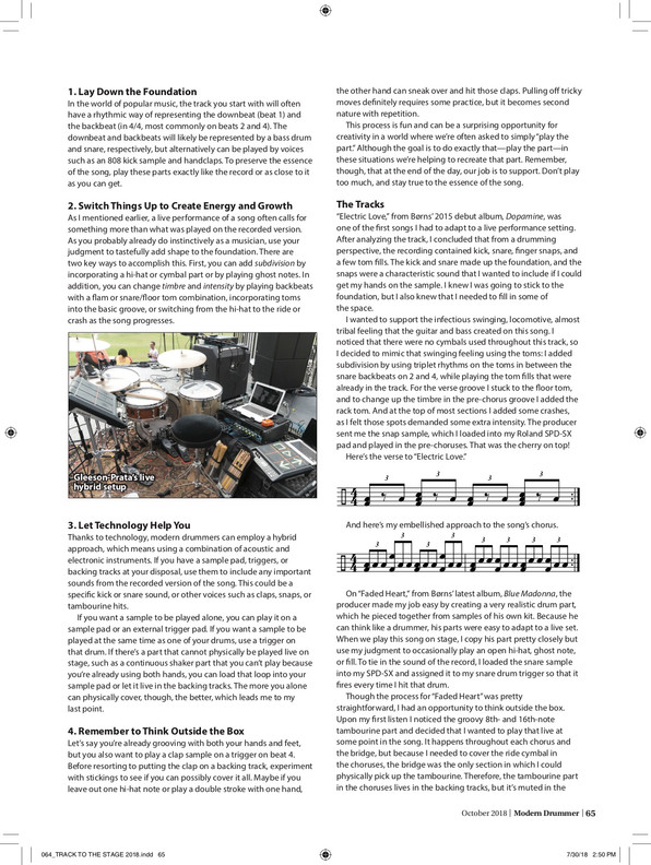 """From the Track to the Stage"" / Modern Drummer Magazine / April 2017 Issue / Page 2 of 3"