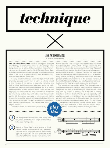 """""""Linear Drumming"""" / Tom Tom Magazine / Issue 16 / Page 1 of 2"""
