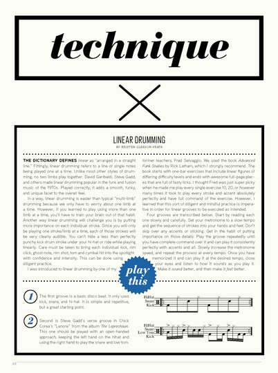 """Linear Drumming"" / Tom Tom Magazine / Issue 16 / Page 1 of 2"