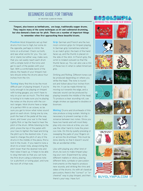 """""""Beginner's Guide for Timpani"""" / Tom Tom Magazine / Issue 12"""