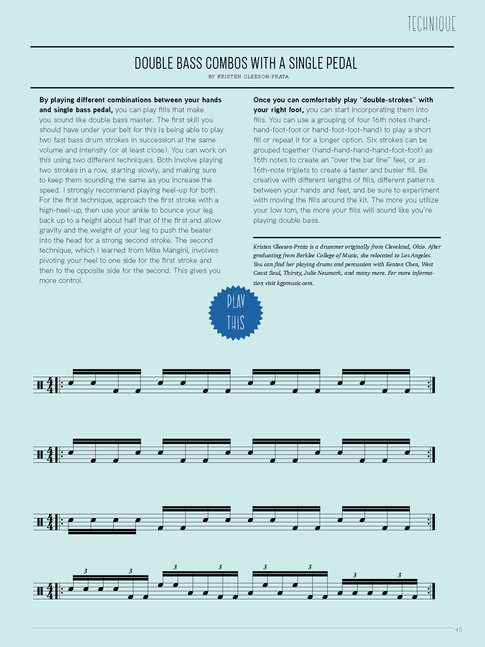"""""""Double Bass Combos With A Single Pedal"""" / Tom Tom Magazine / Issue 13"""