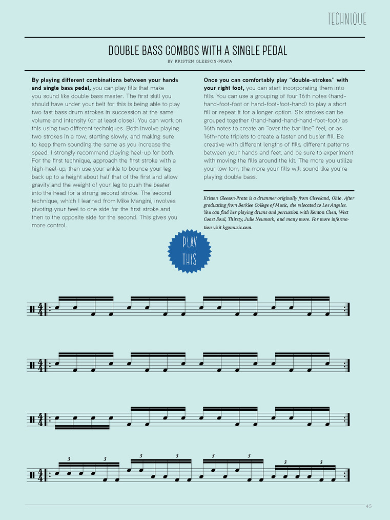 """Double Bass Combos With A Single Pedal"" / Tom Tom Magazine / Issue 13"