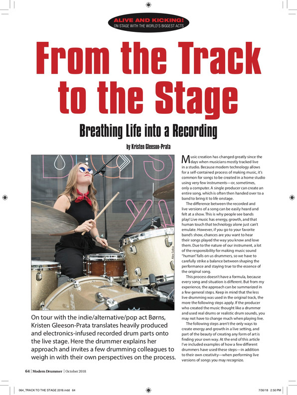 """From the Track to the Stage"" / Modern Drummer Magazine / April 2017 Issue / Page 1 of 3"