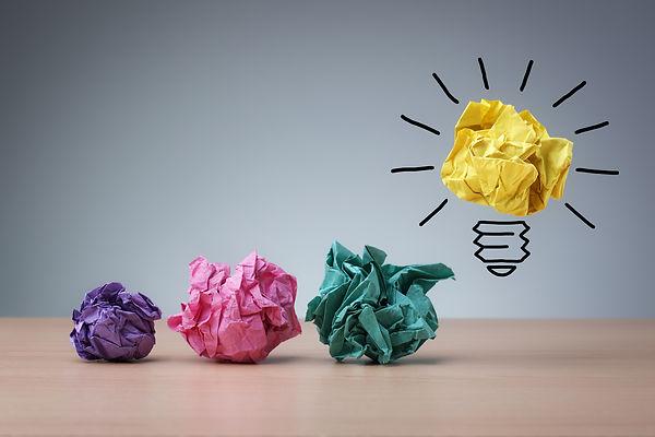 Inspiration concept crumpled paper light