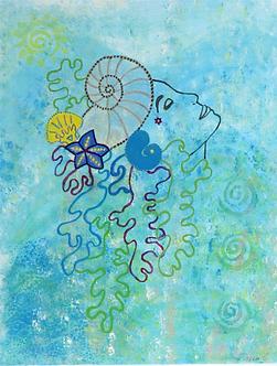 'Sea dreaming 2' original acylic painting by Tricia Garwood