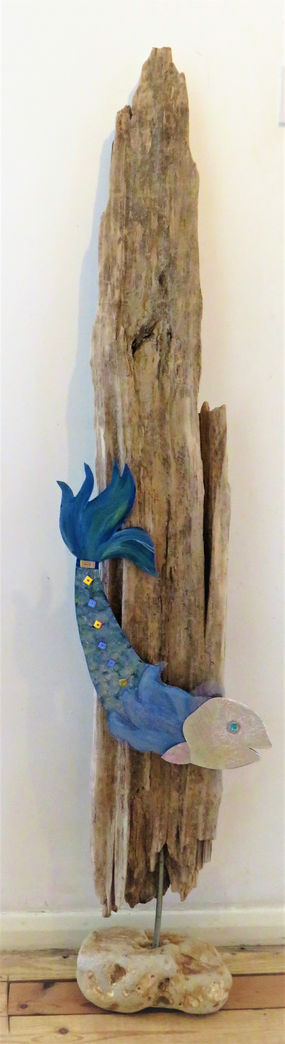 driftwood sculpture and mixed media fish