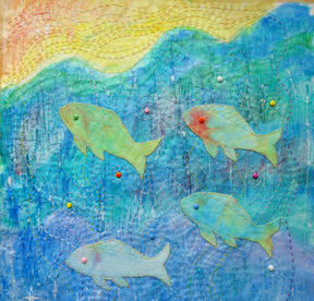 mixed media embroidery fishes
