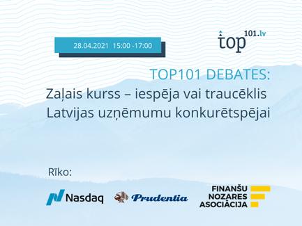 """TOP101 Debatēs """"Zaļais kurss – iespēja vai traucēklis Latvijas uzņēmumu konkurētspējai"""""""