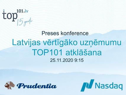 25. novembrī tiešraidē atklās Latvijas vērtīgāko uzņēmumu TOP101